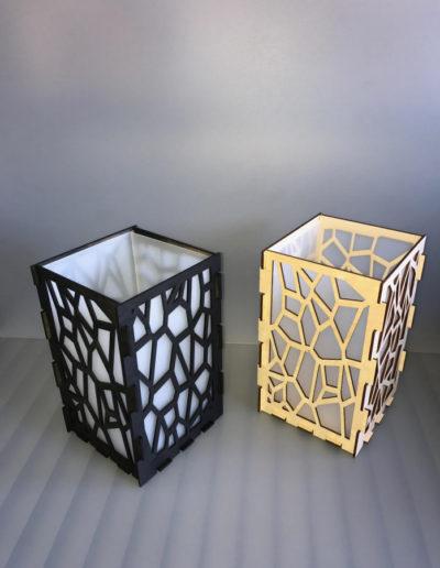 Design lamp hout kunststof melkglas